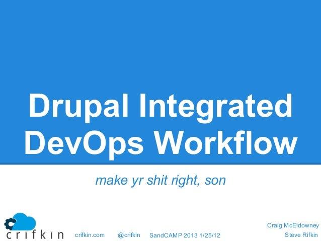 Drupal IntegratedDevOps Workflow          make yr shit right, son                                                    Craig...