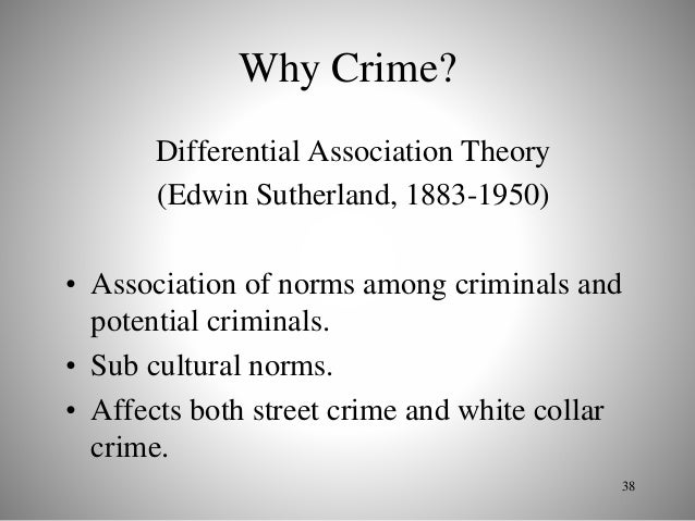edwin sutherland theory Community structure and crime: testing social disorganization theory american journal of sociology 94:774–802 sutherland, edwin 1947.