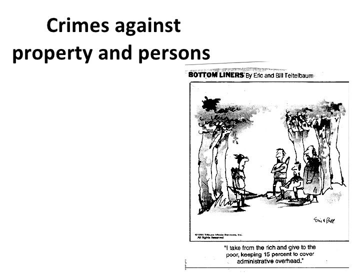 Crimes against property and persons