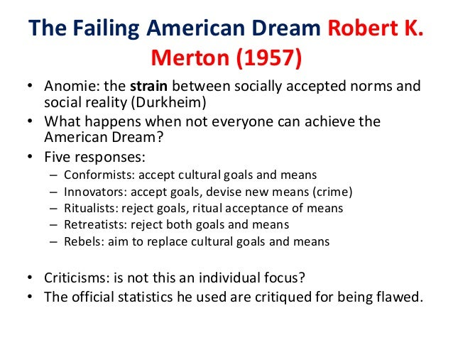 with refernce to robert merton strain Robert merton and the strain theory essaysthe strain theory refers to the gaps between the goals that people have and the means they have to achieve those goals.