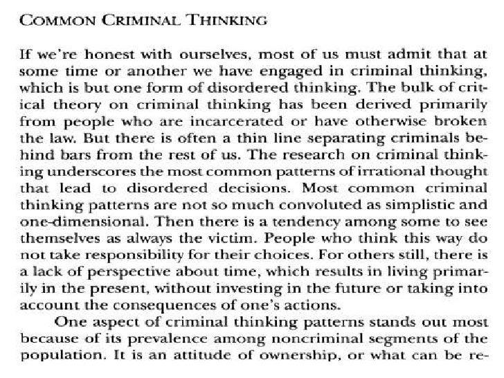 criminal thinking patterns essay