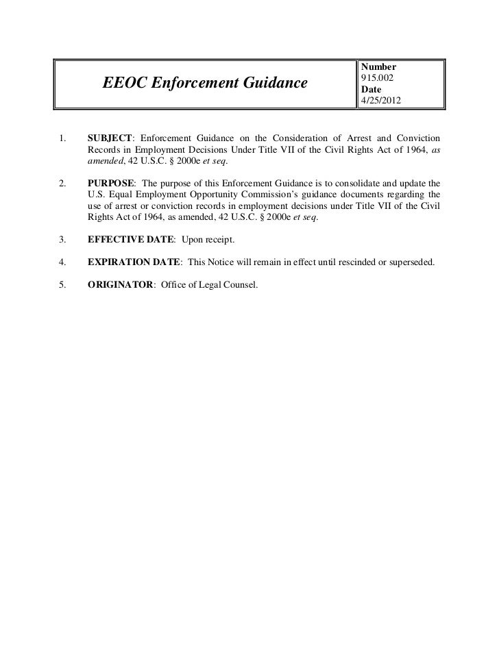 Criminal Background Check - Enforcement Guidance on the Consideration