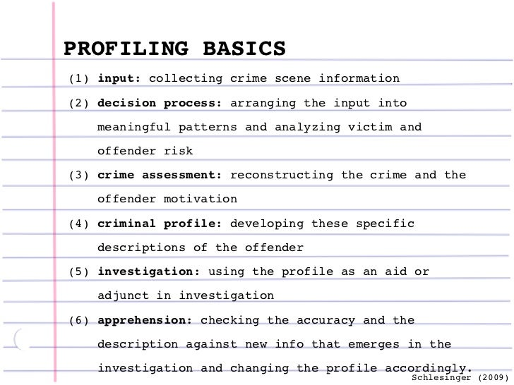 crime scene profiling essay Crime scene analysis attack is the most popular technique of victim profiling and was developed by the behavioral science unit of the american federal bureau of investigation ( fbi )  crime scene analysis attack relies on deductive logical thinking, intuitive thought and pattern designation done by experient research workers.