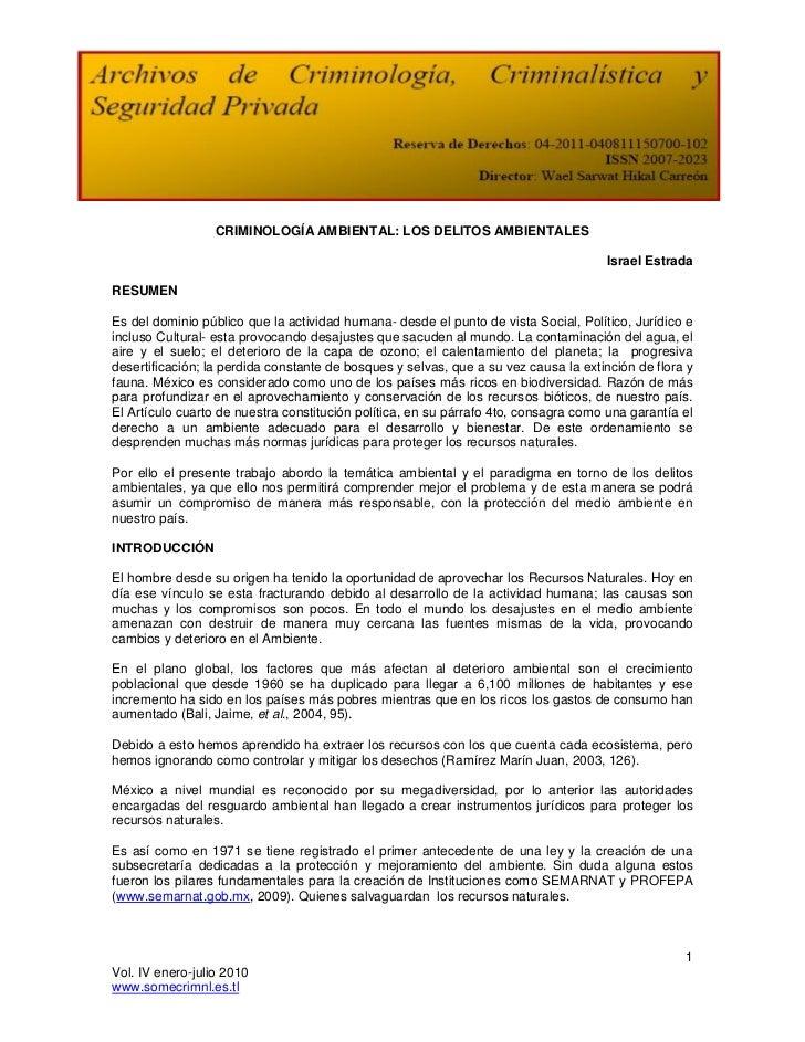 CRIMINOLOGÍA AMBIENTAL: LOS DELITOS AMBIENTALES                                                                           ...