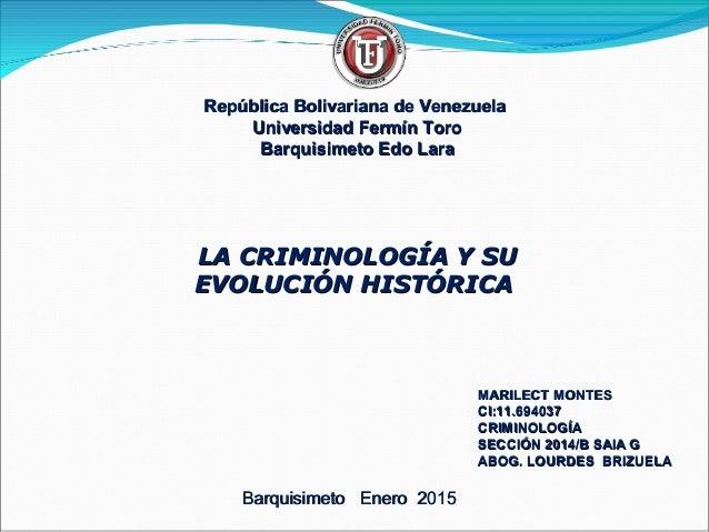 República Bolivariana de VenezuelaRepública Bolivariana de Venezuela Universidad Fermín ToroUniversidad Fermín Toro Barqui...