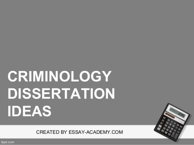 Criminology dissertation proposal