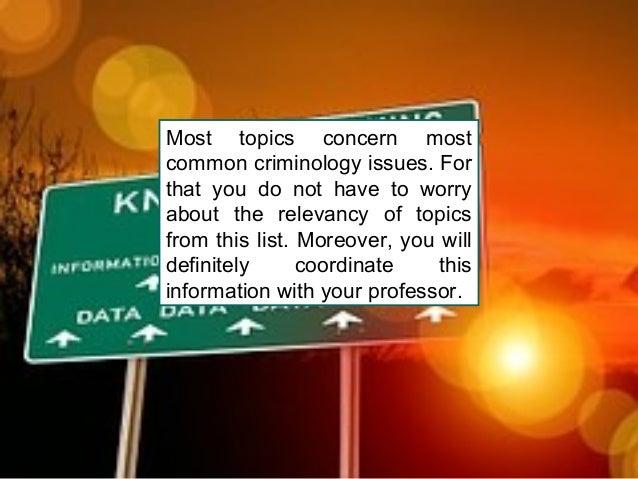 Criminology dissertation topics