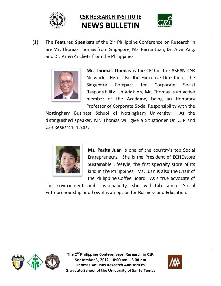 CSR RESEARCH INSTITUTE                       NEWS BULLETIN(1)   The Featured Speakers of the 2nd Philippine Conference on ...
