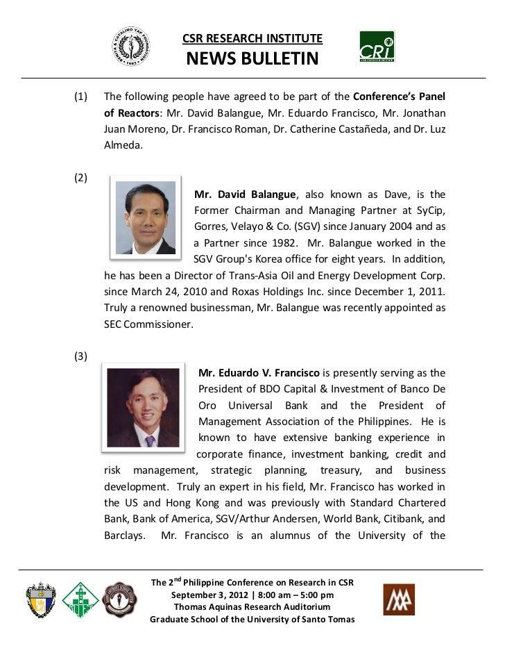 CSR Research Institute News Bulletin #4