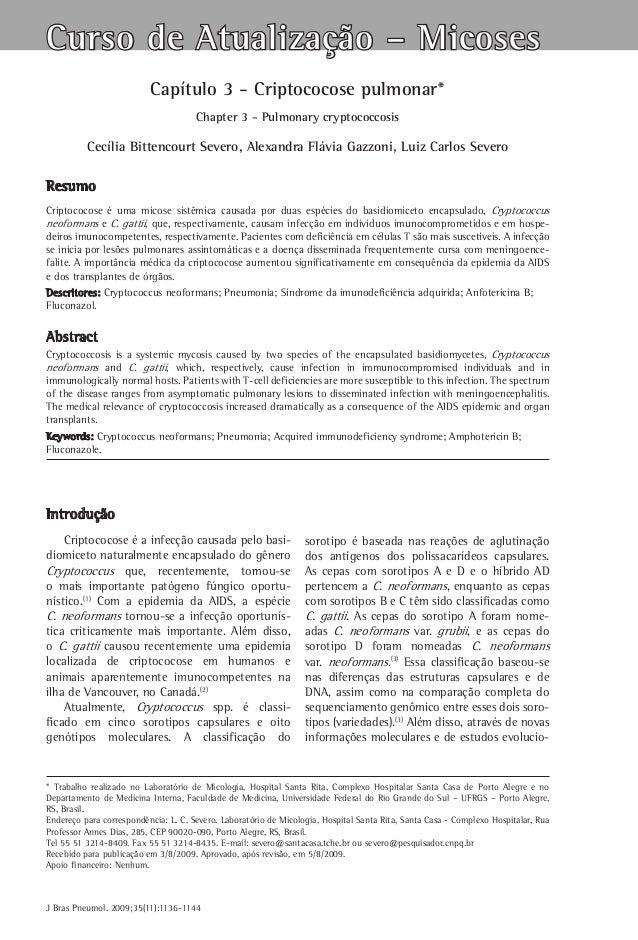 Curso de Atualização – Micoses Capítulo 3 - Criptococose pulmonar* Chapter 3 - Pulmonary cryptococcosis  Cecília Bittencou...