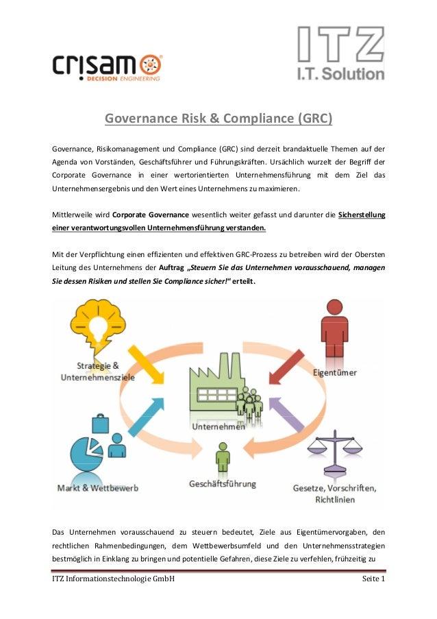 ITZ Informationstechnologie GmbH Seite 1 Governance Risk & Compliance (GRC) Governance, Risikomanagement und Compliance (G...