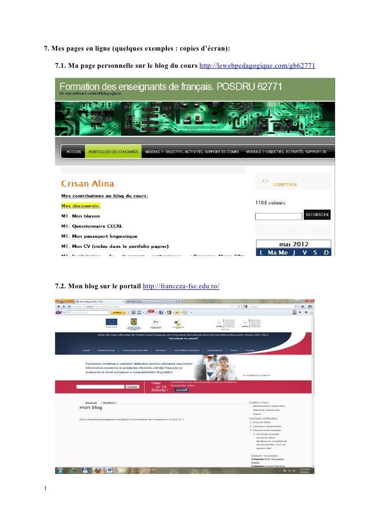 7. Mes pages en ligne (quelques exemples : copies d'écran):    7.1. Ma page personnelle sur le blog du cours http://lewebp...
