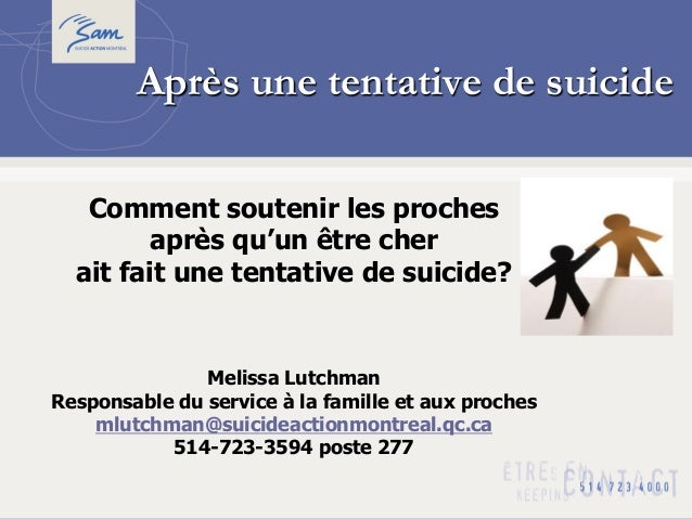 Après une tentative de suicideComment soutenir les prochesaprès qu'un être cherait fait une tentative de suicide?Melissa L...