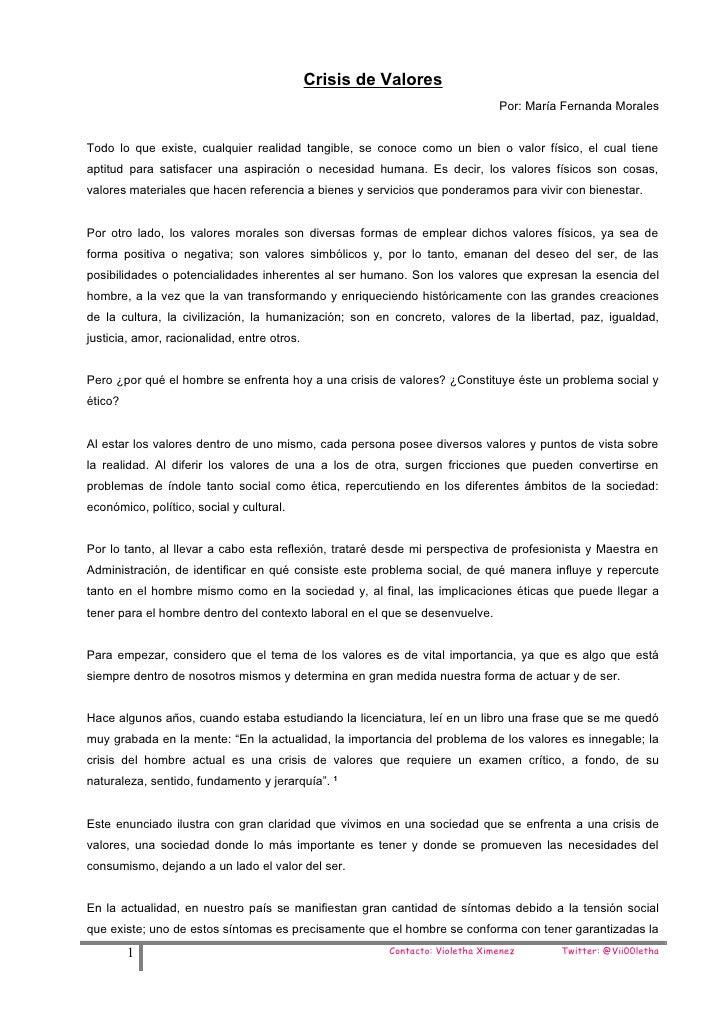 Crisis de Valores                                                                             Por: María Fernanda MoralesT...