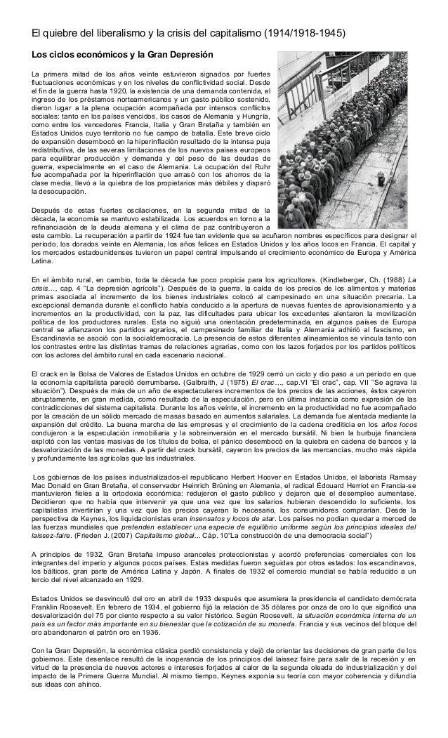 El quiebre del liberalismo y la crisis del capitalismo (1914/1918-1945)Los ciclos económicos y la Gran DepresiónLa primera...