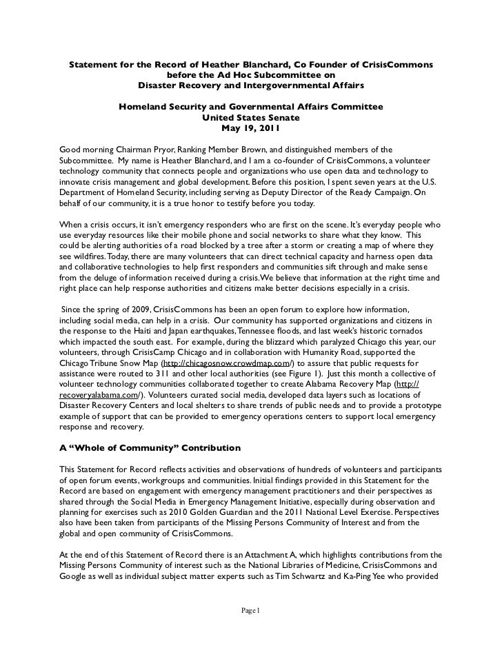 Statement for the Record of Heather Blanchard, Co Founder of CrisisCommons                      before the Ad Hoc Subcommi...
