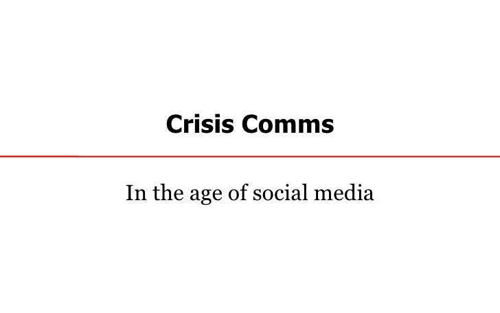 Crisis comms in the age of social media