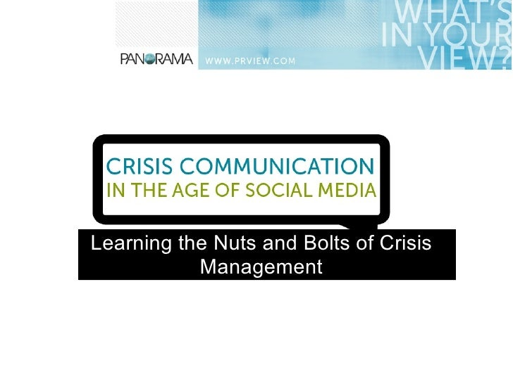 Learning the Nuts and Bolts of Crisis           Management