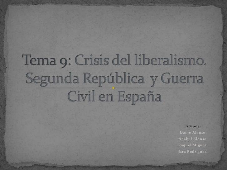 CRISIS DEL LIBERALISMO. SEGUNDA REPÚBLICA Y GUERRA CIVIL EN ESPAÑA
