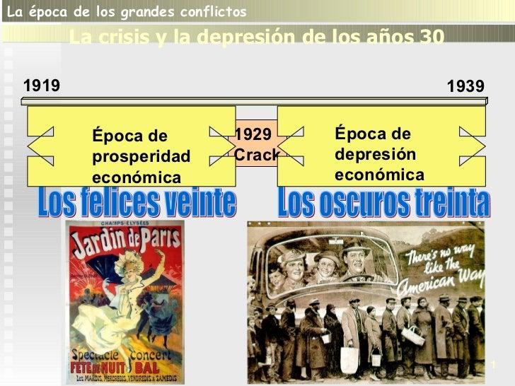 Los felices veinte Los oscuros treinta 1 1919 1939 1 La época de los grandes conflictos  La crisis y la depresión de los a...