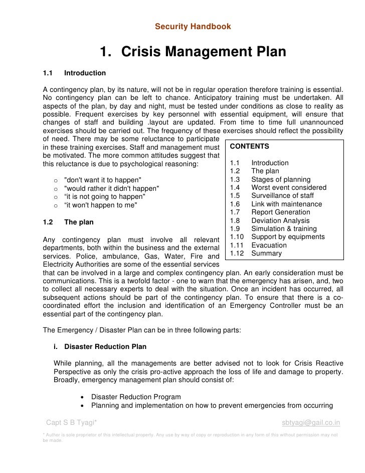 Security Handbook                           1. Crisis Management Plan1.1       IntroductionA contingency plan, by its natu...