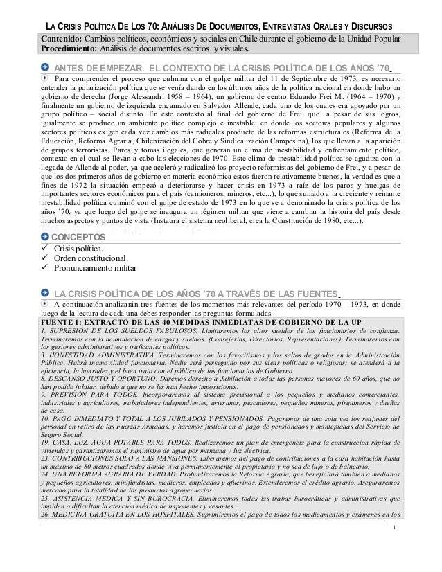 LA CRISIS POLÍTICA DE LOS 70: ANÁLISIS DE DOCUMENTOS, ENTREVISTAS ORALES Y DISCURSOS Contenido: Cambios políticos, económi...
