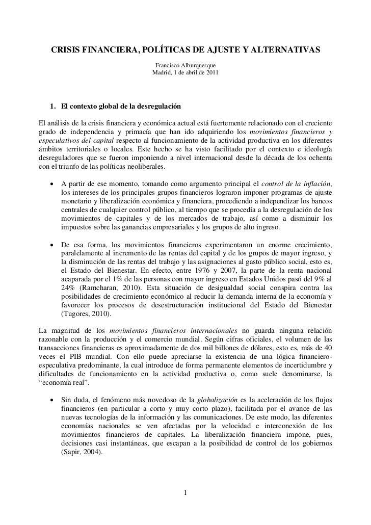 CRISIS FINANCIERA, POLÍTICAS DE AJUSTE Y ALTERNATIVAS                                       Francisco Alburquerque        ...