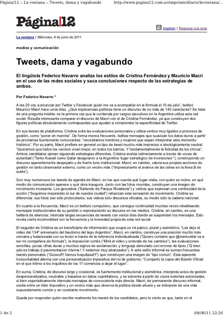 Página/12 :: La ventana :: Tweets, dama y vagabundo                   http://www.pagina12.com.ar/imprimir/diario/laventana...