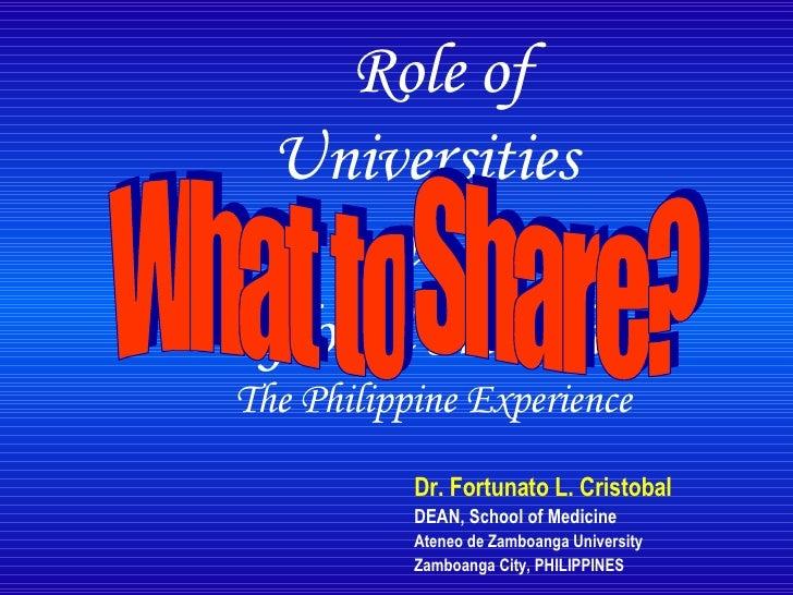Role of Universities in Global Health: Fortunato Cristobal