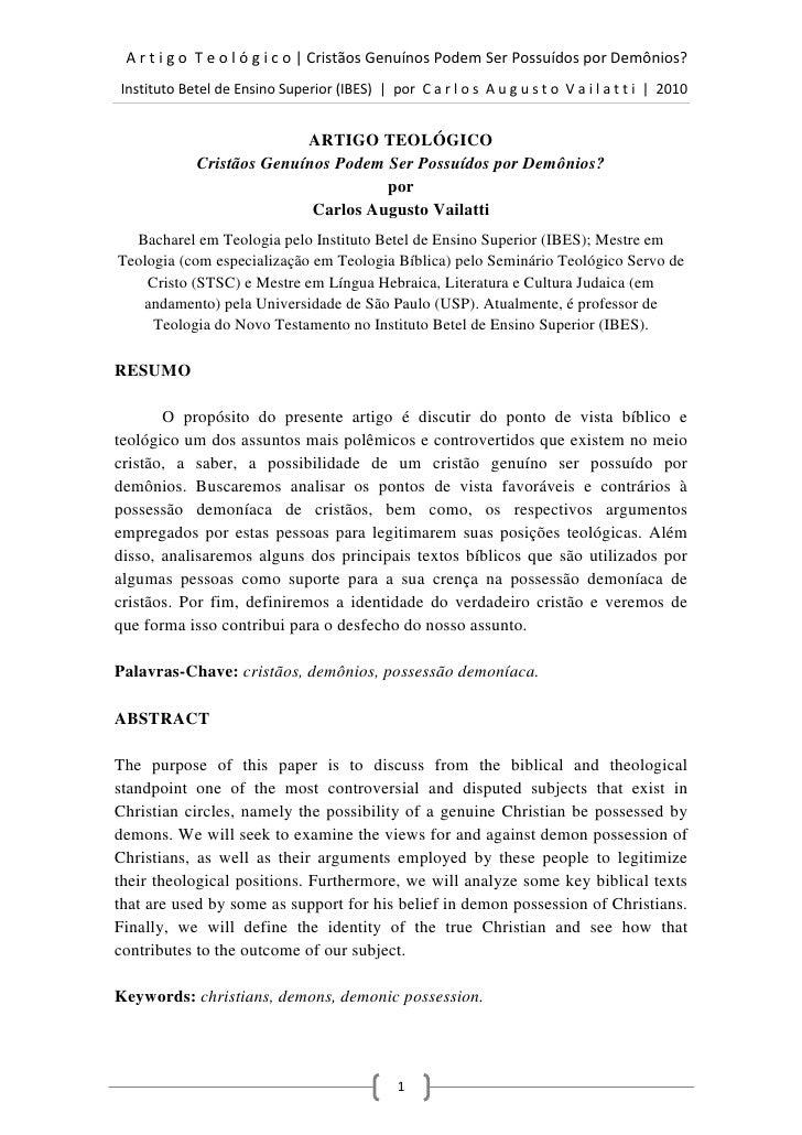 [PDF] Cristãos Genuínos Podem Ser Possuídos por Demônios?