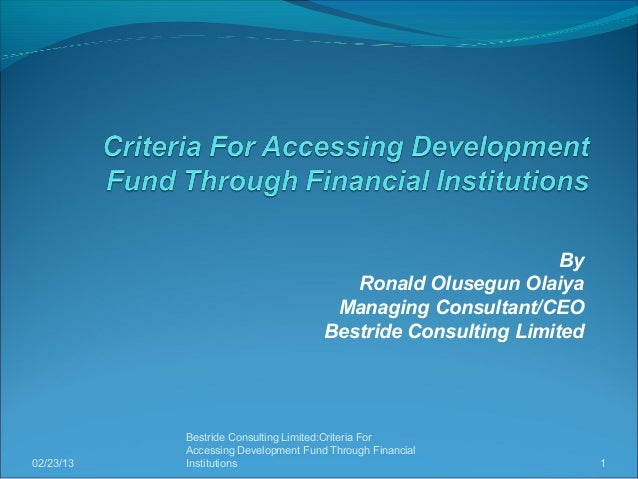 performance of development financial institutions in