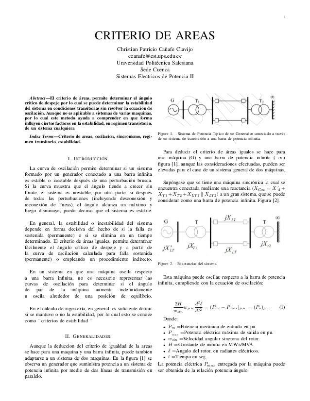 Criterio de areas Sistemas electrico de potencia (SEP II)