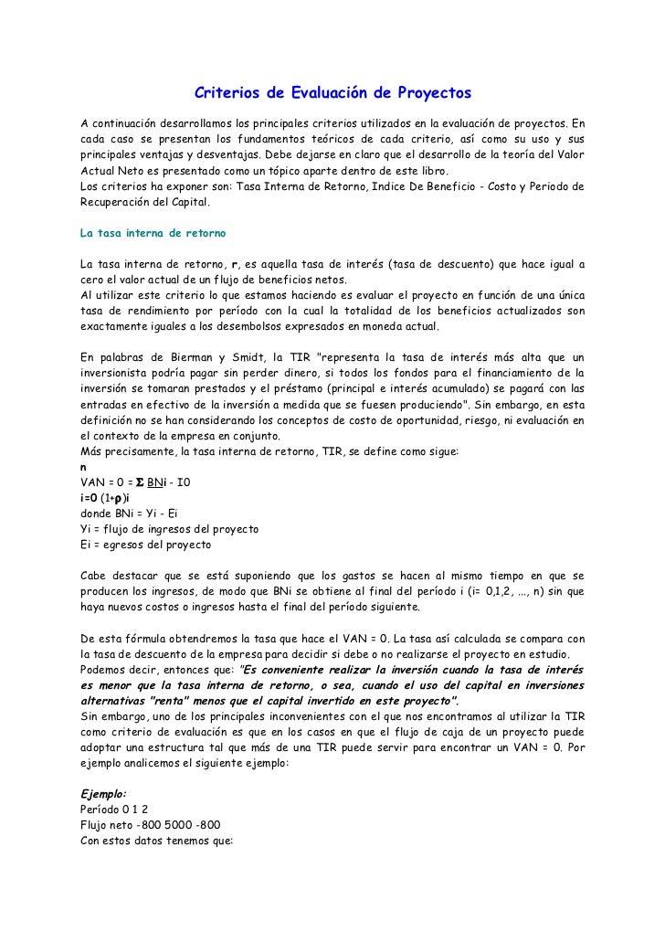 Criterios de Evaluación de ProyectosA continuación desarrollamos los principales criterios utilizados en la evaluación de ...