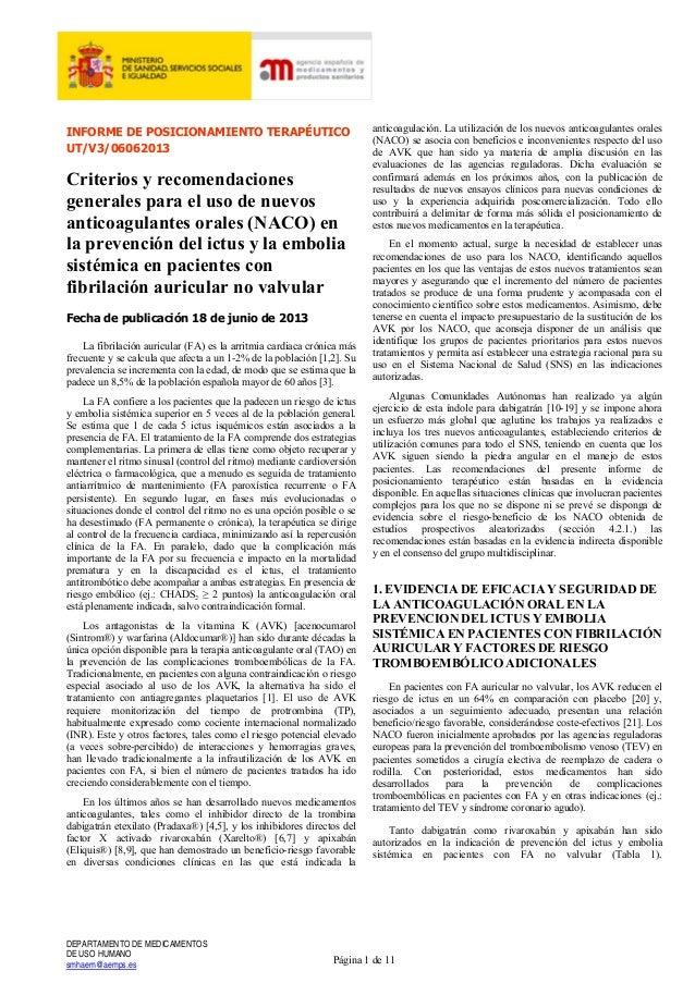 INFORME DE POSICIONAMIENTO TERAPÉUTICO UT/V3/06062013 Criterios y recomendaciones generales para el uso de nuevos anticoag...