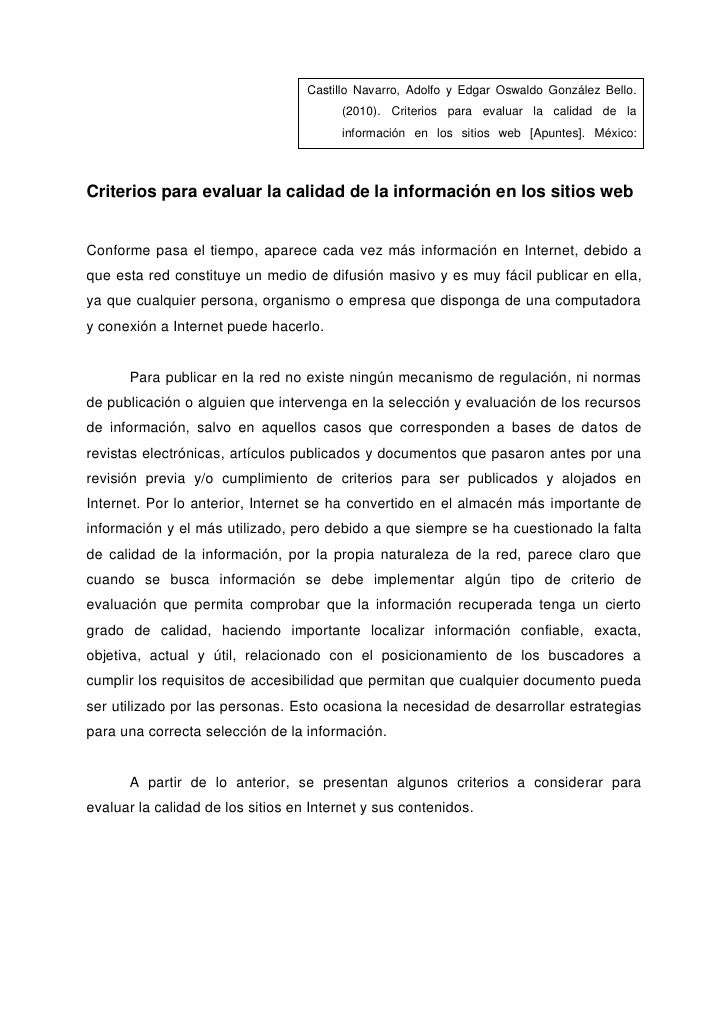 Castillo Navarro, Adolfo y Edgar Oswaldo González Bello.                                         (2010). Criterios para ev...