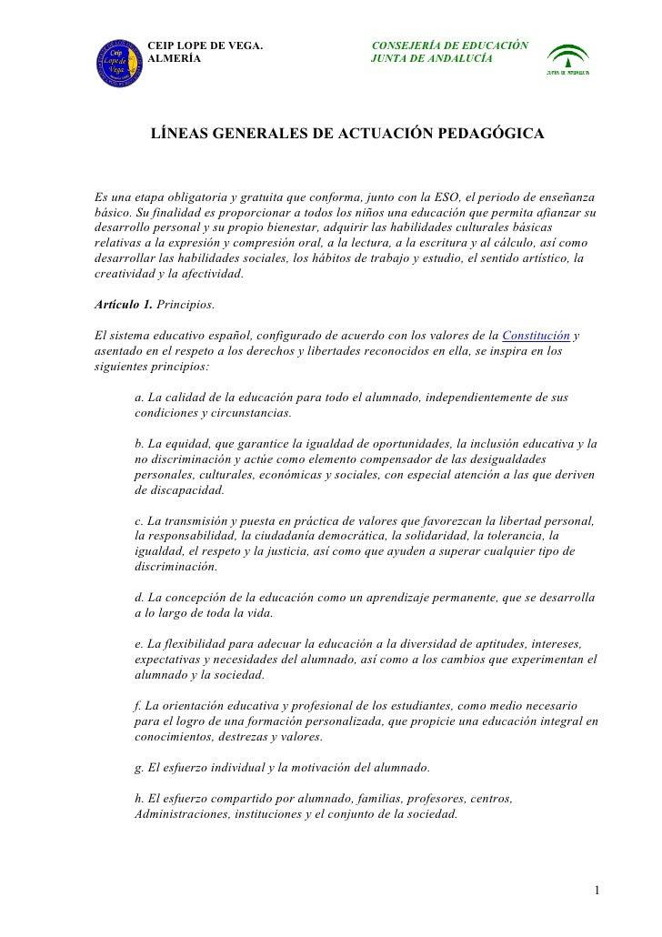 Criterios actuación pedagógica