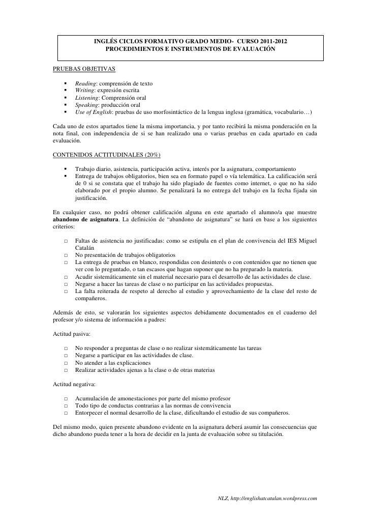 INGLÉS CICLOS FORMATIVO GRADO MEDIO- CURSO 2011-2012                     PROCEDIMIENTOS E INSTRUMENTOS DE EVALUACIÓNPRUEBA...