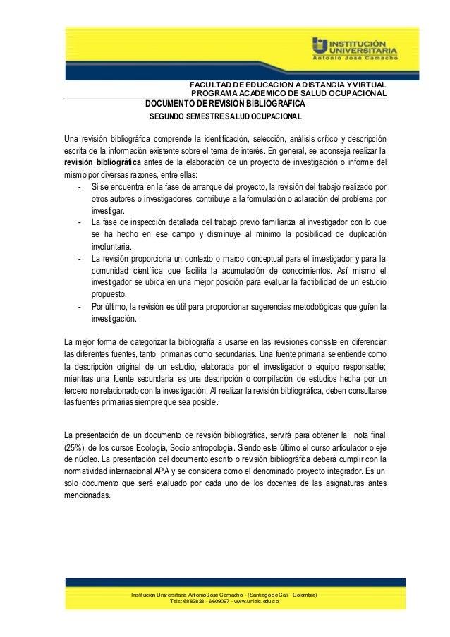 FACULTAD DE EDUCACION A DISTANCIA Y VIRTUAL PROGRAMA ACADEMICO DE SALUD OCUPACIONAL  DOCUMENTO DE REVISION BIBLIOGRAFICA S...