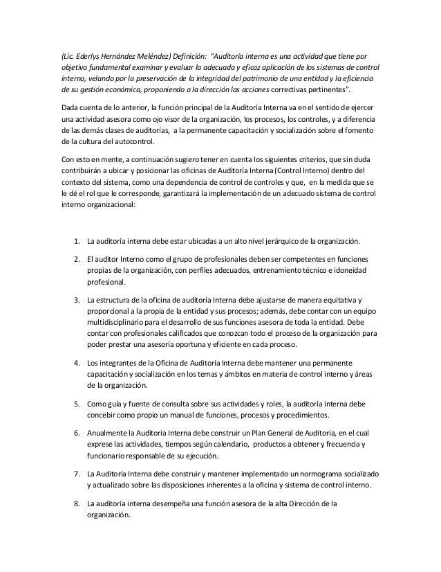 """(Lic. Ederlys Hernández Meléndez) Definición: """"Auditoría interna es una actividad que tiene por objetivo fundamental exami..."""