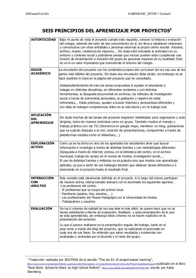 @ManuelCalvillo #ABPMOOC_INTEF / Unidad1 SEIS PRINCIPIOS DEL APRENDIZAJE POR PROYECTOS1 AUTENTICIDAD Bajo mi punto de vist...