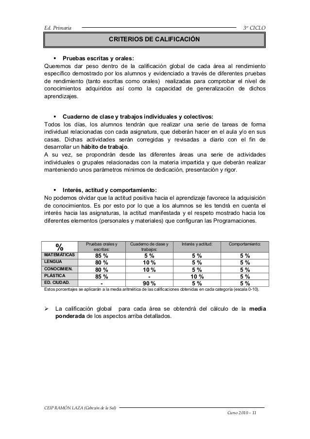 Criterios de calificación 2010 11