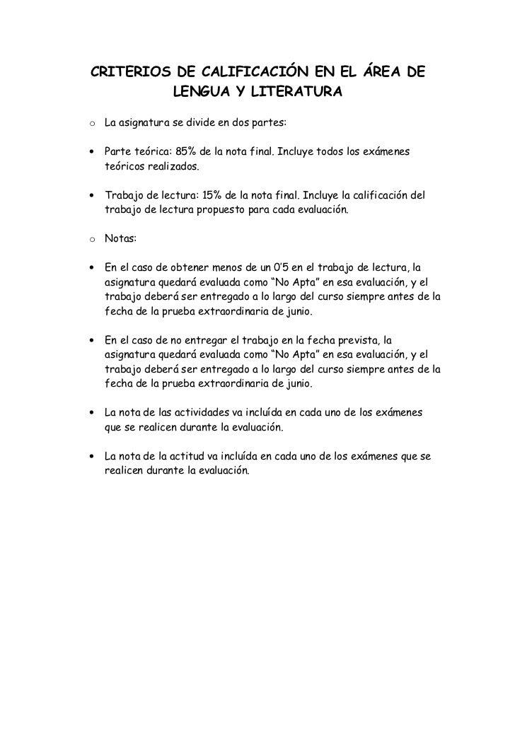 Criterios de calificación en el área de lengua y literatura