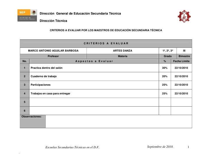 Dirección General de Educación Secundaria Técnica                  Dirección Técnica                          CRITERIOS A ...