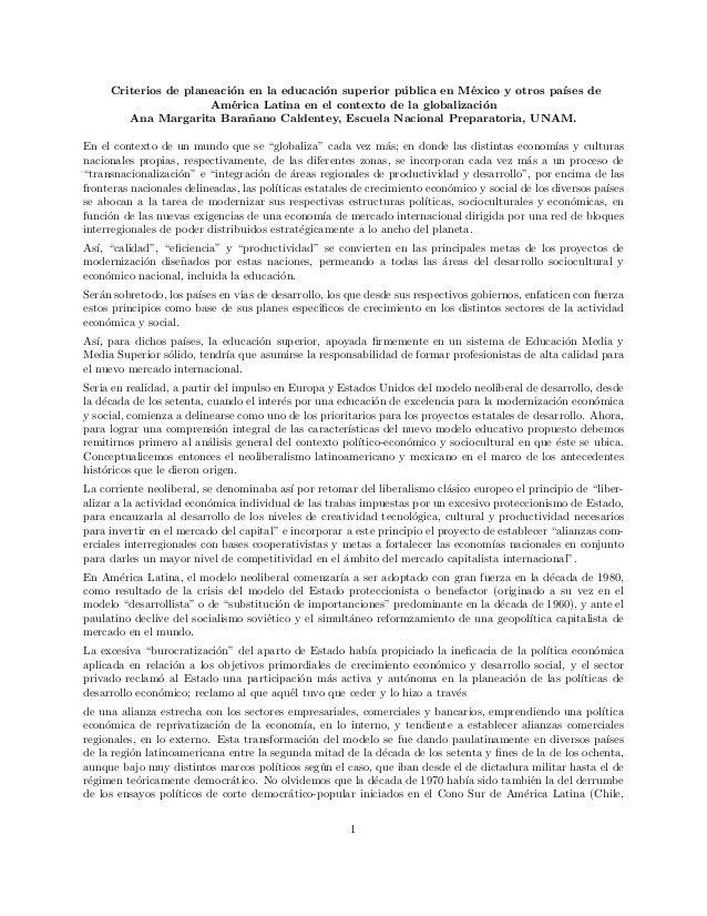 Criterios de planeaci´on en la educaci´on superior p´ublica en M´exico y otros pa´ıses de Am´erica Latina en el contexto d...