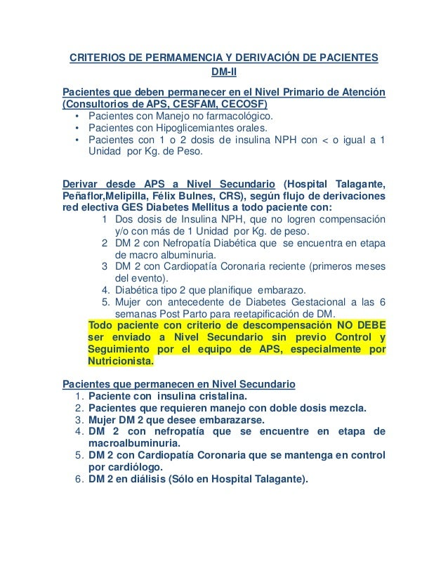 CRITERIOS DE PERMAMENCIA Y DERIVACIÓN DE PACIENTES                       DM-IIPacientes que deben permanecer en el Nivel P...