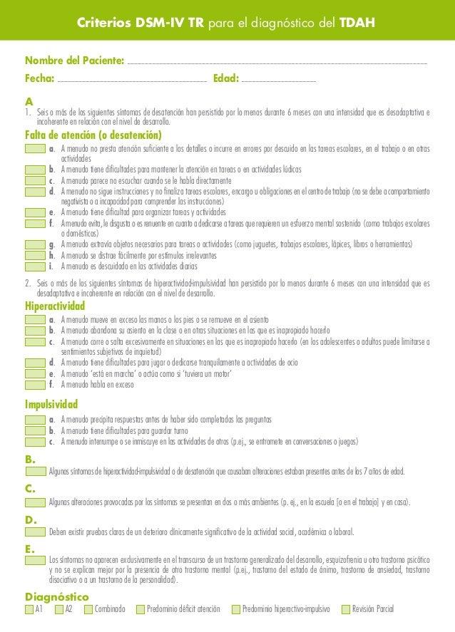 Criterios dsm iv tr para diagnostico tdh 1