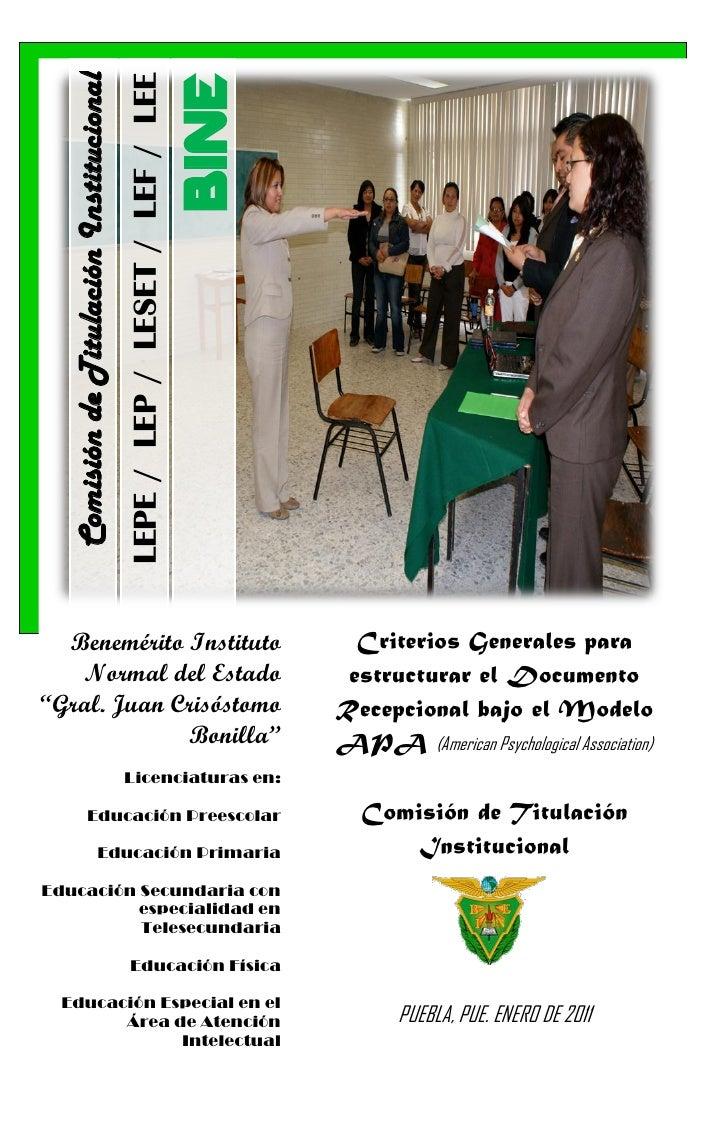 Comisión de Titulación Institucional                                          LEPE / LEP / LESET / LEF / LEE              ...