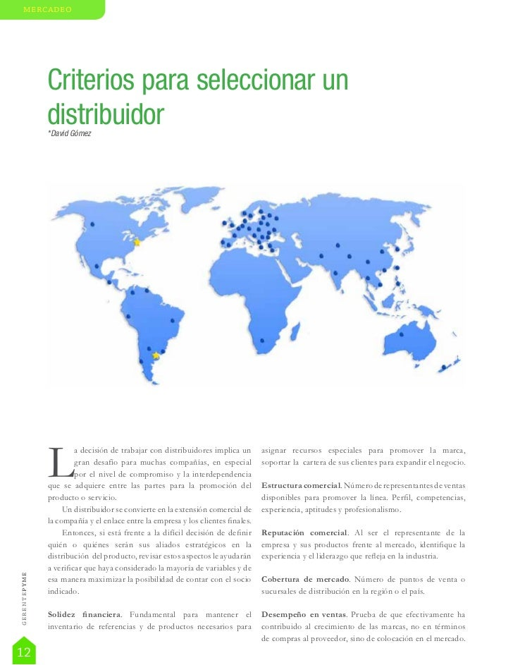 mercadeo                       Criterios para seleccionar un                       distribuidor                       *Dav...