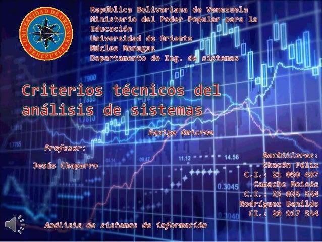 Criterios técnicos del análisis de sistemas