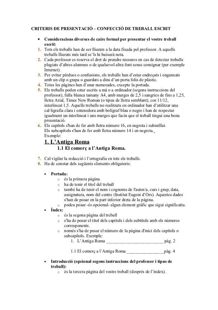Criteris presentació treballs